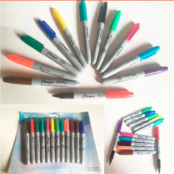 12PCS/box Tattoo Colorful Mark Pen Professional Tattoo Skin Marker Pen For Makeup Tattoo Accessories Supply Free Shipping