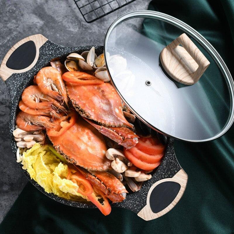 Pot instantané en alliage d'aluminium 24 cm pot à soupe antiadhésif porridge ragoût ménage cuisinière à gaz électromagnétique four nouilles