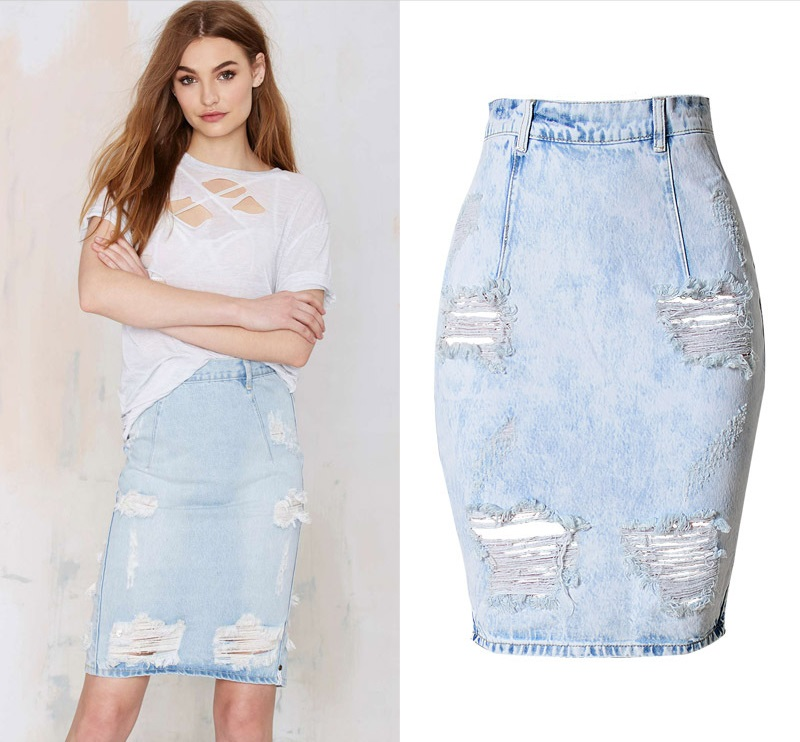 29ab8a389 Fashion Casual Distressed Plus Size Denim Skirt Sexy Ripped High Waist  Skirts Back Slit Jupe femme