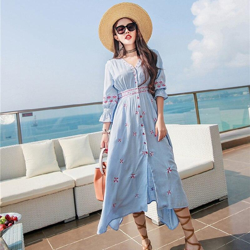 Camisa bordado de la flor de la vendimia vestidos de las mujeres ropa de algodón