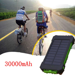 TOP travel Solar Power Bank 30000mAh Solar Charger External battery Waterproof Solar Powerbank for xiaomi iphone with LED Light