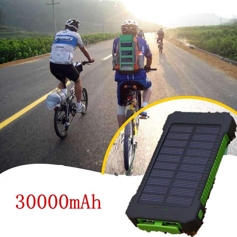 Viajes Solar Banco de la energía 30000 mAh Cargador Solar de batería externa Solar impermeable Powerbank para xiaomi iphone con luz LED