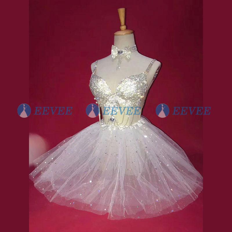 Silver Rhinestones Bra Tutu Skirt Women's Bikini Mesh Skirt Full Rhinestones Collar Sets Prom Party Stage Wear Dance Show Outfit
