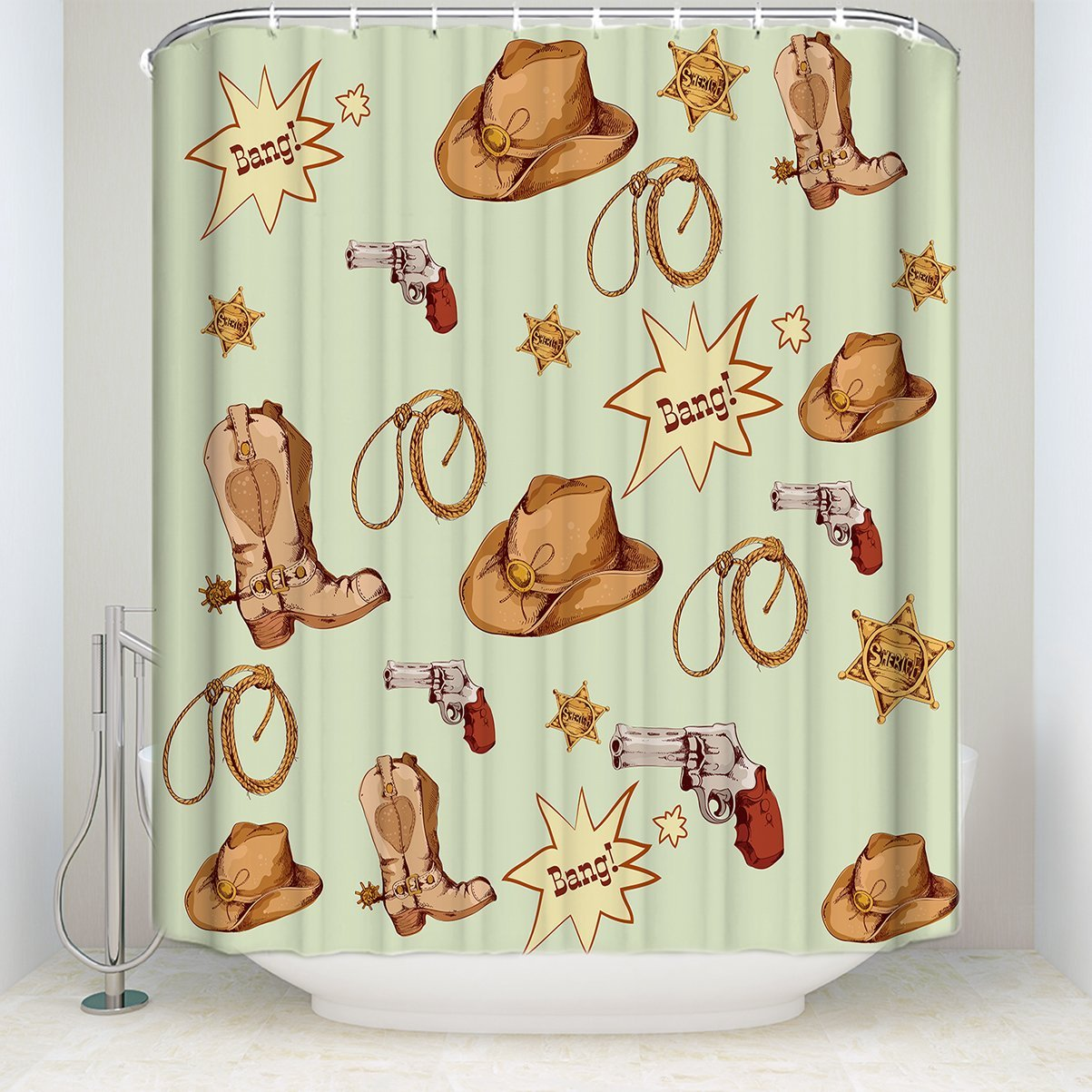Art Gallery Shower Curtain Cowboy Pistol Hat Leather Whip Medal Pattern Funny Soft Comfort With Hooks