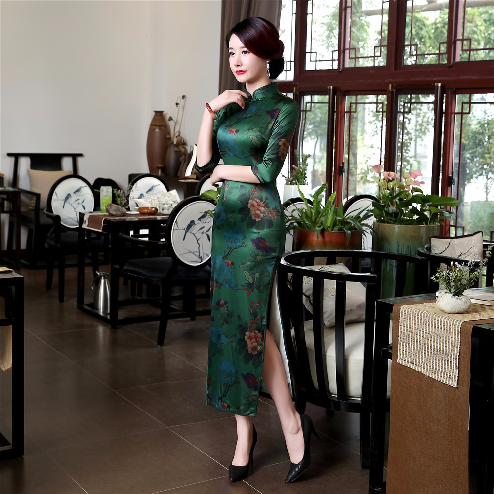 High Quality Silk Chinese Women Dress Sexy Long Sheath Cheongsam Qipao Elegant Print Flowers Dresses S M L XL XXL XXXL - 3