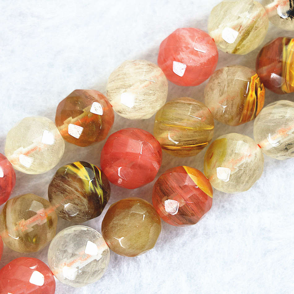 """8mm Faceted Red Watermelon Tourmaline Gems loose Beads 15/"""""""
