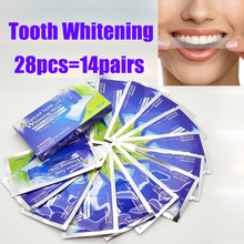 28Pcs/7Pair 3D White Gel Teeth Whitening Strips Oral Hygiene Care Double Elastic Dental Bleaching Tools