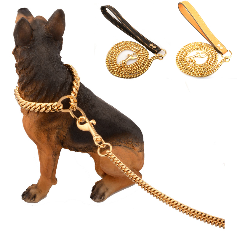 Stainless Steel Pet Gold Chain Dog Leashes Leather Handle Portable Leash Rope Straps Puppy Dog Cat Training Slip Collar Supplies