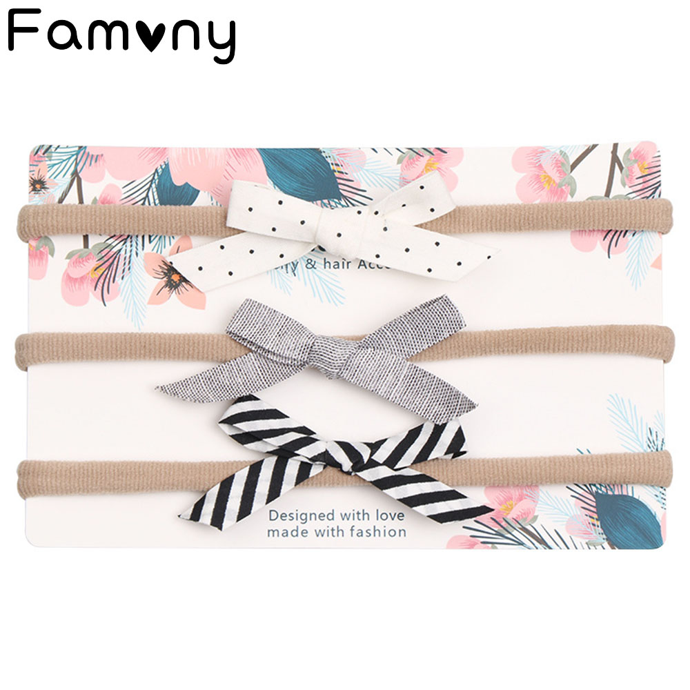 3 Pcs/set Fashion Solid Nylon Elastic Headband Dot Flower Printed Hairband Striped Grosgrain Headbands For Baby Hair Accessories3 Pcs/set Fashion Solid Nylon Elastic Headband Dot Flower Printed Hairband Striped Grosgrain Headbands For Baby Hair Accessories