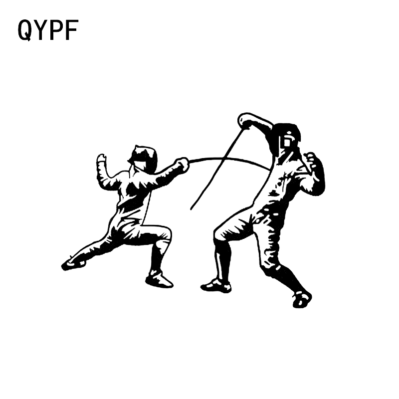 QYPF 14.5*10.8CM Sport Fencing Combat Car Sticker Vinyl Silhouette Accessories Extreme Movement C16-0982