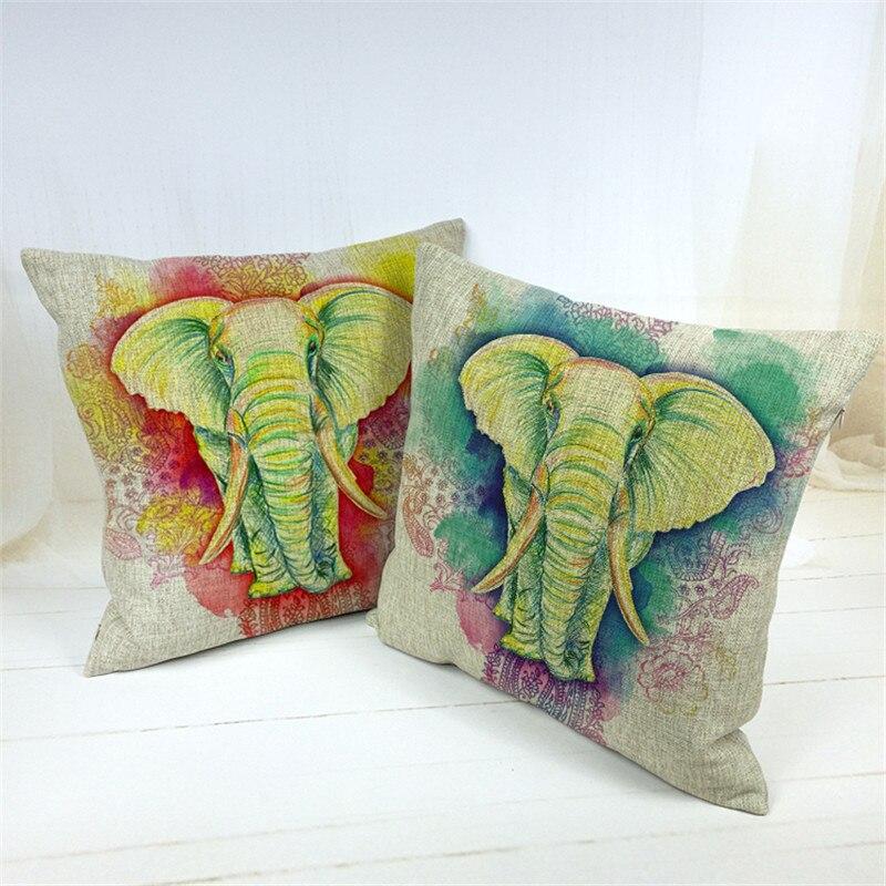 Animal Emblem Cushion Cover Mandala Paisley Ganesha Pillow Cases Rock Lounger Chair Holiday Gift Throw Pillow Case 17X17 Linen