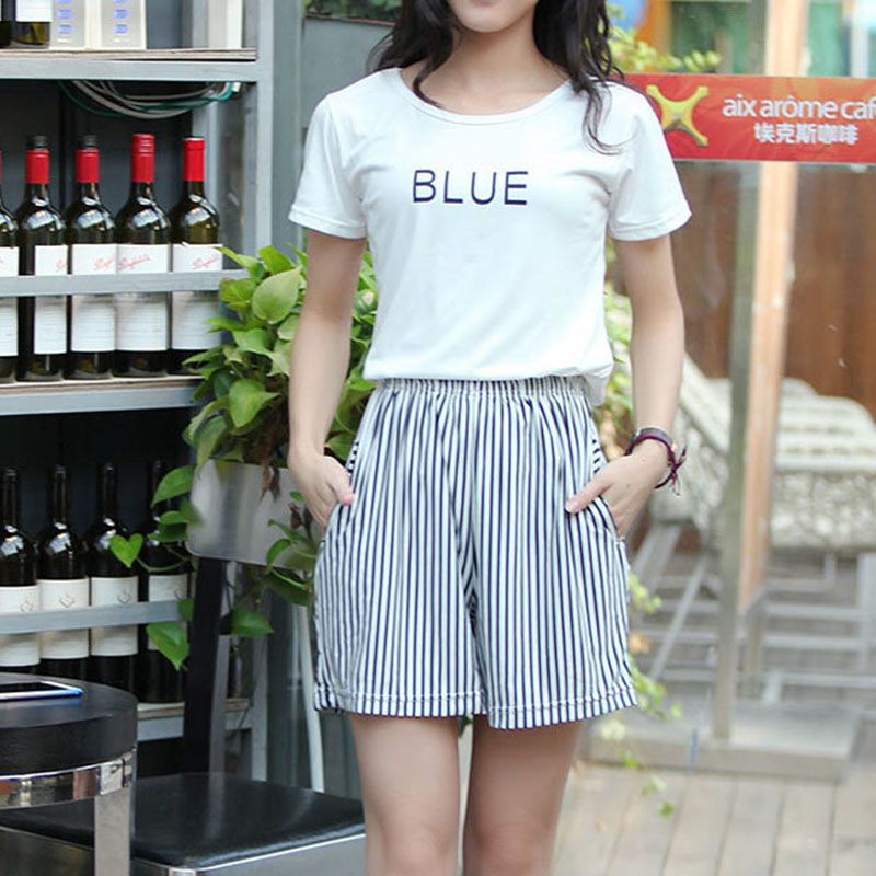 Women Striped Shorts Clothes Lace Up High Waist Summer Fashion Trousers Fitness Casual Stripe Shorts With Pockets