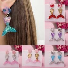 New 2018 summer style cute mermaid princess fashion colorful hook resin pendant earrings girl gift handmade shiny fairy kawaii