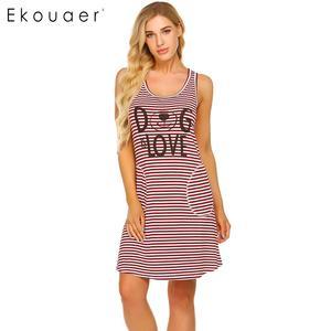 Image 2 - Ekouaer Women Striped Nightdress Summer Nightgown O Neck Sleeveless Letters Printed Stripes Loose Night Dress Female Sleepwear