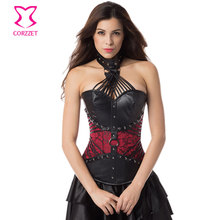 Corzzet Gothic Black/Red Strappy Leather Halter Neck Victorian Corset Plus Size Waist Slimming Corsets And Bustiers
