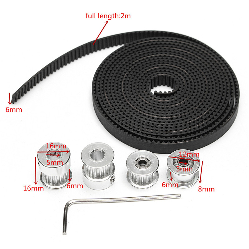 1pc 2m GT2 Belt + 1pc16T 3mm Tensioner + 1pc 3mm Tensioner + 2pcs 16T 5mm GT2 Pulley + 1pc Wrench 3D Printer Accessories