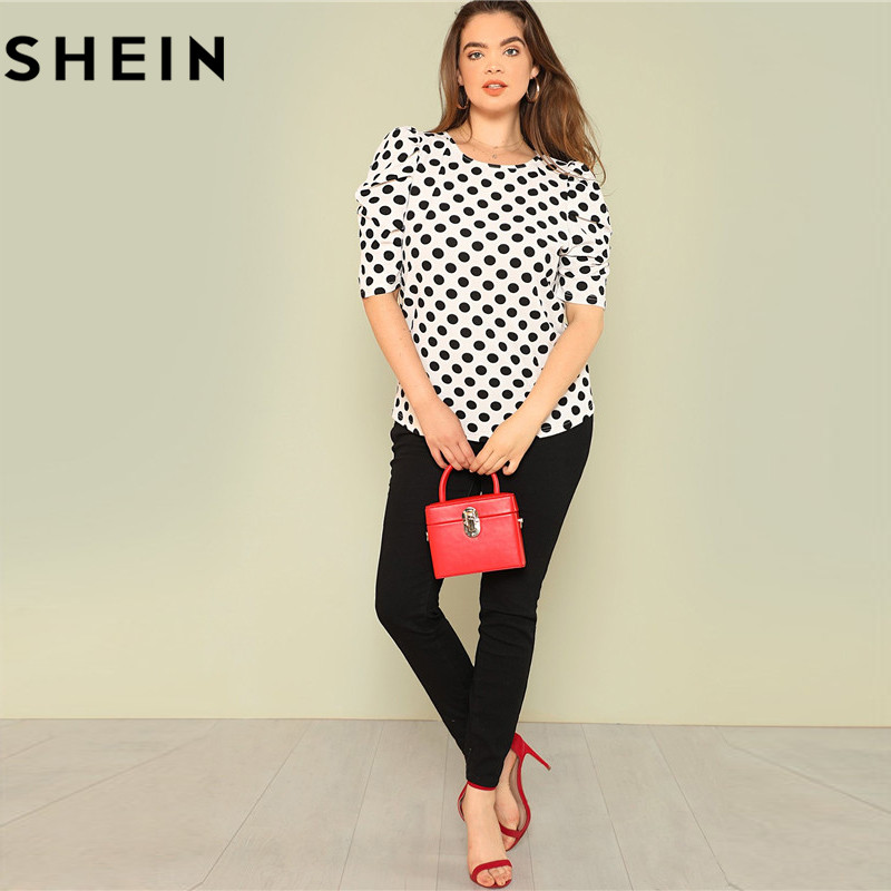 SHEIN Black And White Polka Dot Puff Sleeve Round Neck Plus Size Tops 2018 Summer Casual Office Lady Half Sleeve Elegant Blouses 4
