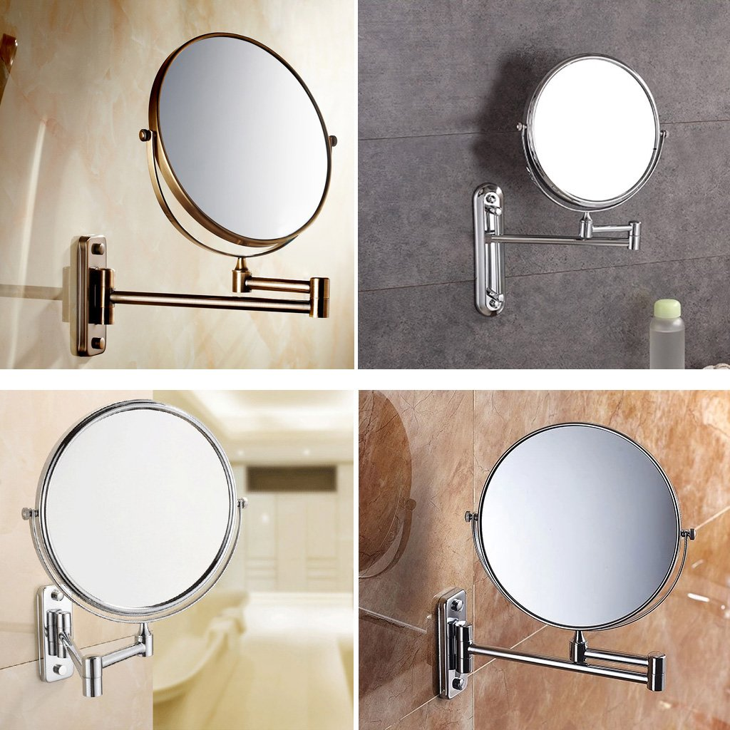 IG-Silver Extending 8 inches cosmetic wall mounted make up mirror shaving bathroom mirror 5x Magnification silver extending 8 inches cosmetic wall mounted make up mirror shaving bathroom mirror 5x magnification