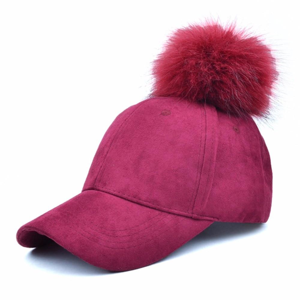 MIOIM Winter Women Faux Fox Fur Pompom Ball Hat Suede Warm Adjustable  Baseball Cap Hip-Hop Hat Solid 5 Colos Mujer Sombrero 3 - TakoFashion -  Women s ... 629c3be607dc