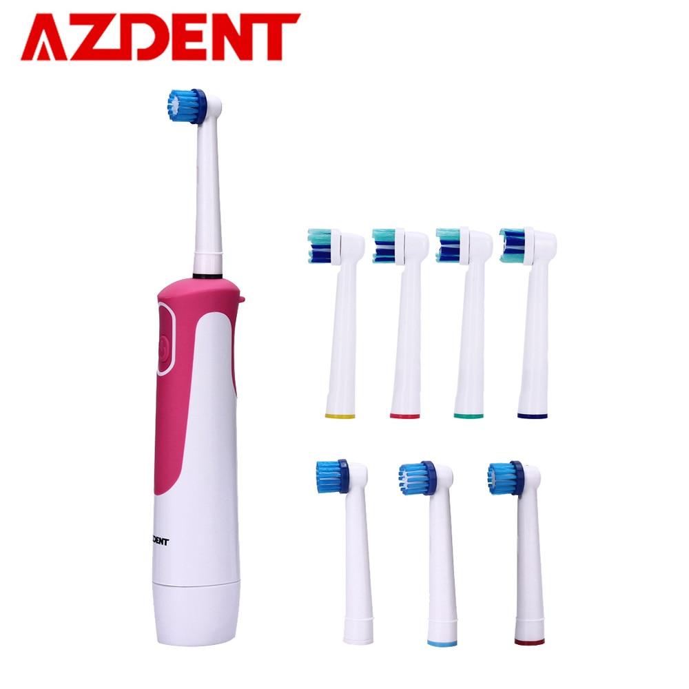 Azdent quente avançado escova de dentes elétrica rotativa tipo bateria operado sem recarregável dentes escova clareamento para adultos