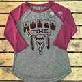 Camiseta Tops Mujeres Suaves Calientes de Navidad Con Encanto Girls Cuello Redondo Mangas Largas RODEO Letra Impresa Empalmado Tee Camiseta Top Gris