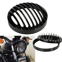 ISincer 6 Inch 6 5 75 Inch 5 3 4 Black Aluminum Motorcycle Headlight Grill Cover