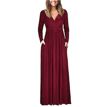 New Fashion Women Dress 2018 Lady V Neck Long Sleeve Pockets Dress Casual Pleated Solid A line Retro Maxi Long Vestidos 30