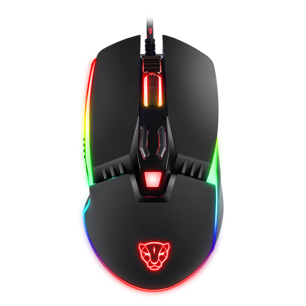 Motospeed V20 Wired Optical USB Gaming Mouse Catamount 8 Buttons 5000DPI RGB Backlit Wired Gaming Mouse i rocks im3 we usb 2 0 wired 3500dpi optical gaming mouse w backlight white
