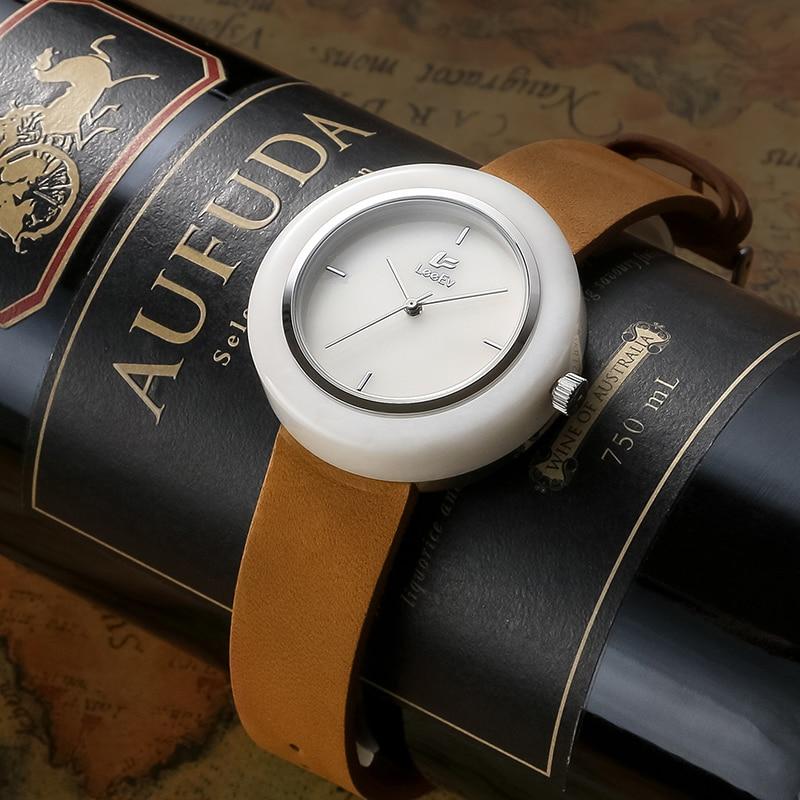 LeeEv Marble Stone Watches Genuine Leather Strap 3ATM Waterproof Analog Swiss Quartz Movement for Men & Women Luxury Gift Box