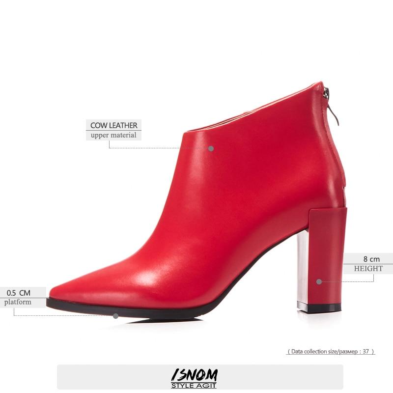 Zapatos de tacón alto de Invierno para mujer, zapatos de punta estrecha, zapatos de bota de cuero genuino para mujer, zapatos con cremallera 2019 negro y rojo-in Botas hasta el tobillo from zapatos    3
