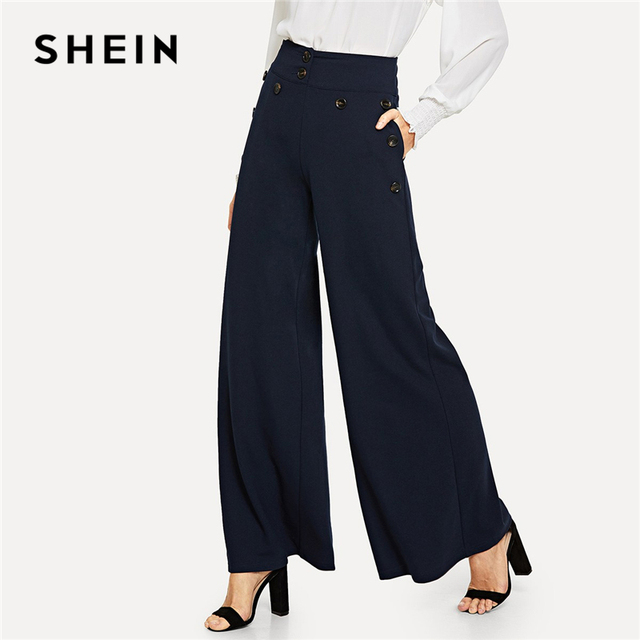 f5e599794b SHEIN Navy Button Detail Slant Pocket Wide Leg Pants Elegant Plain High Waist  Trousers Women Autumn