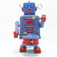 Estanho clássico Vento Até Brinquedos Brinquedo Do Robô Do Vintage para Meninos Presente de Natal Das Crianças, engraçado Clockwork Brinquedos 2 Pçs/lote