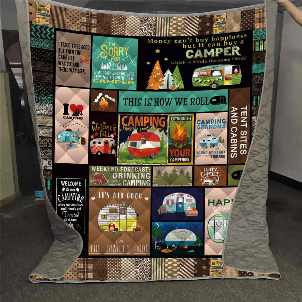 Dropshipping 3D Printed Camping Quilt Kids Adult Bed Soft Warm Bedding Thin Blanket for Traveling Picnics Beach Trips Home Decor
