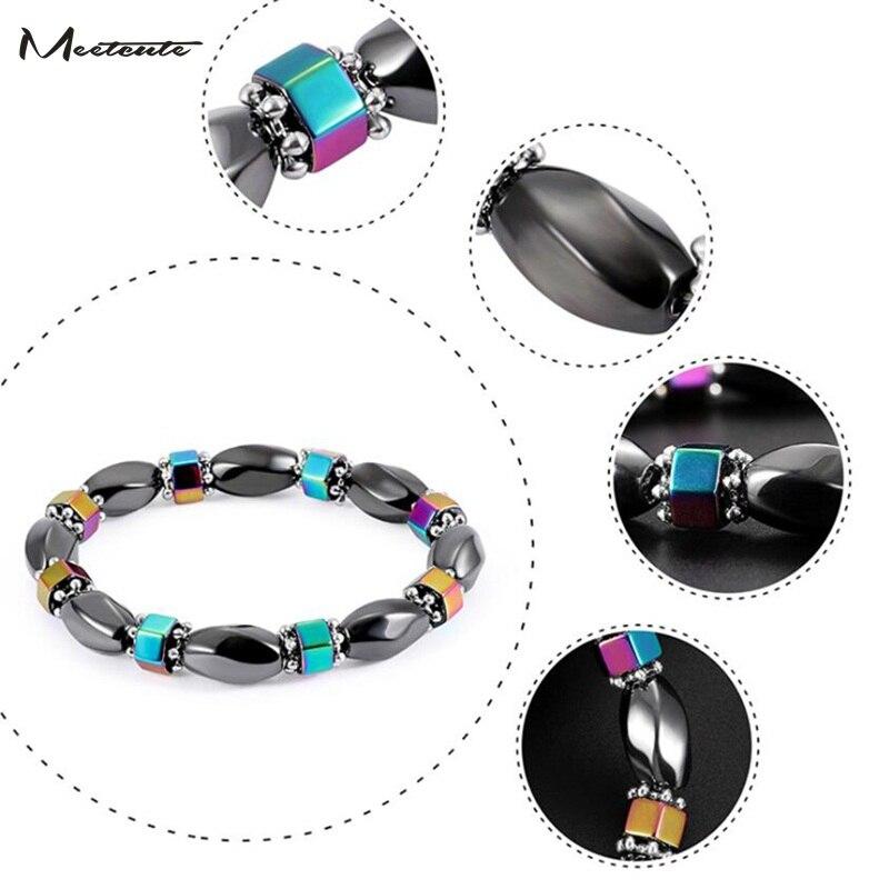 Meetcute Bracelets Beaded Black Gallstone Beads Bracelets Unisex Magnetic Hematite Natural stone Bracelets