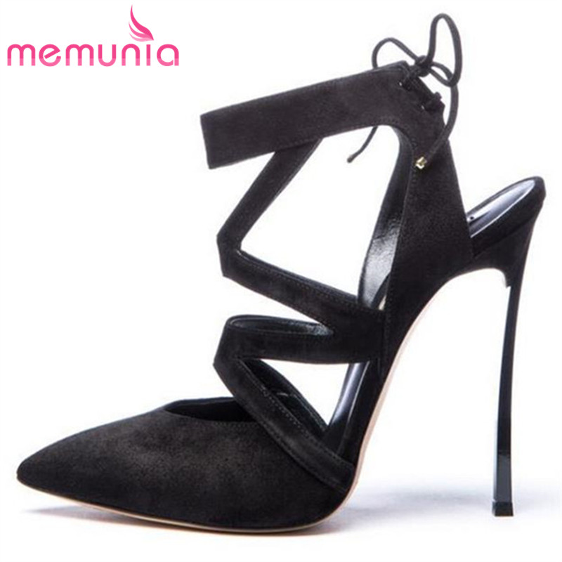 MEMUNIA sexy women high heels sandals fashion lace-up pointed toe cross tied super high summer shoes ladies prom shoes memunia flock pointed toe ladies summer high heels shoes fashion buckle color mixing women pumps elegant lady prom shoes