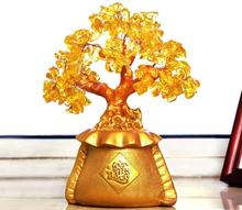 Natural yellow furnishings crystal lucky tree