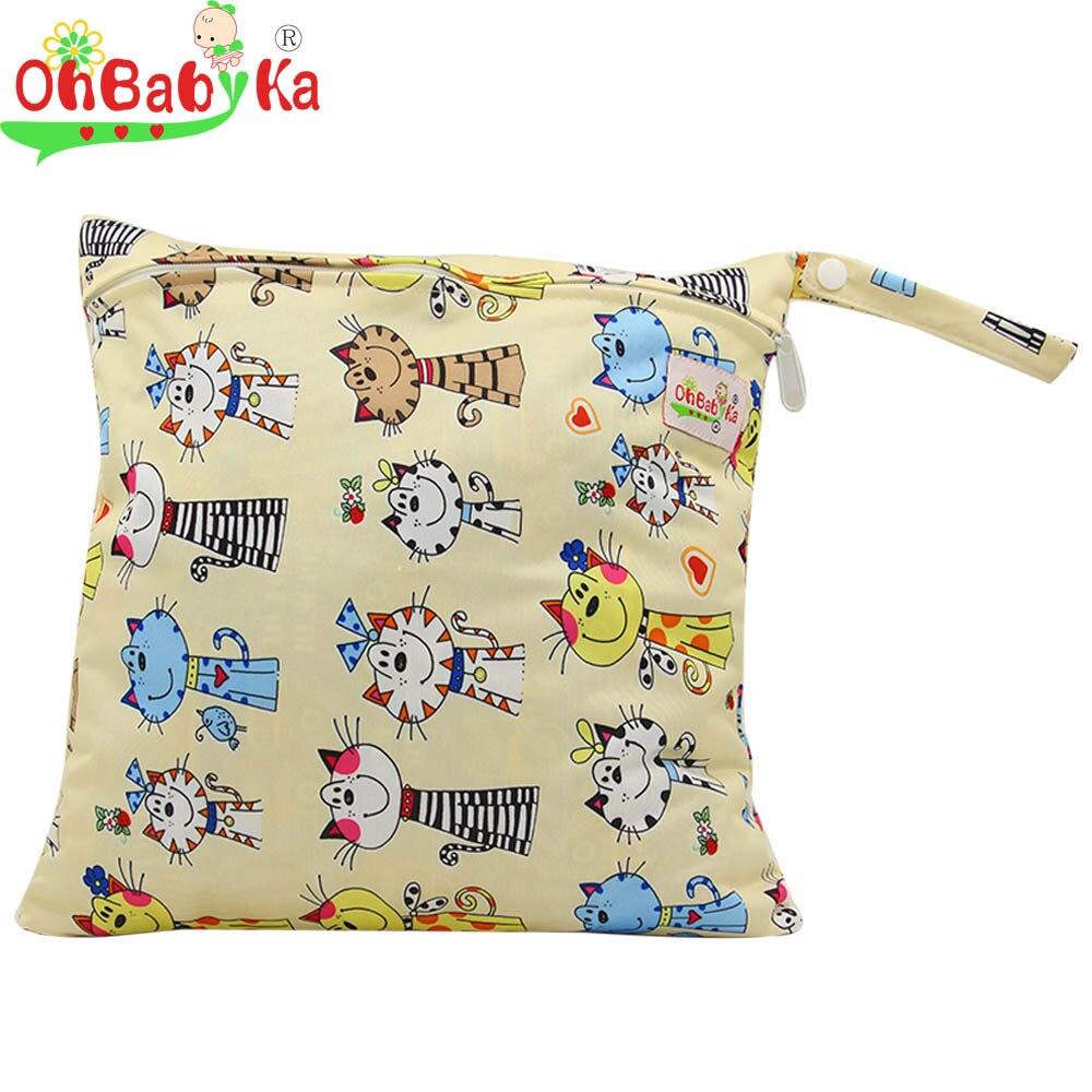OhBabyKa Baby Waterproof Nappy Storage Bag Environment Reusable Single Pocket Wet Dry Bag Conveninet Waterproof Cloth Diaper Bag