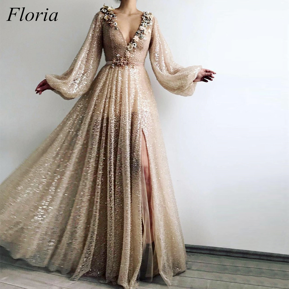 New Fashion Muslim Formal   Evening     Dresses   Long 2019 Pearls Flower Long Sleeves Sexy V-Neck robe de soiree   Evening   Prom Party