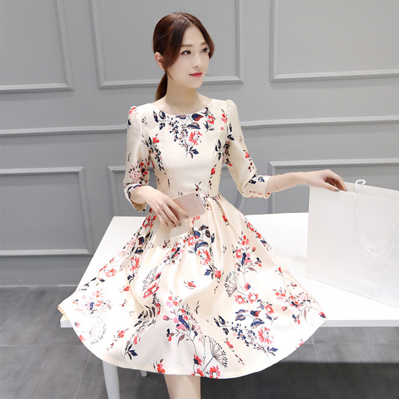 Women Dress Retro Flower Print Elegant O Neck Party Floral Dresses Girl