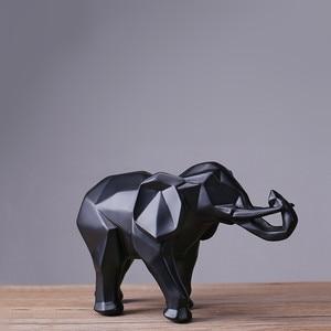 Image 4 - מודרני מופשט שחור פיל פסל שרף קישוטי עיצוב הבית אביזרי מתנה גיאומטרי שרף זהב פיל פיסול