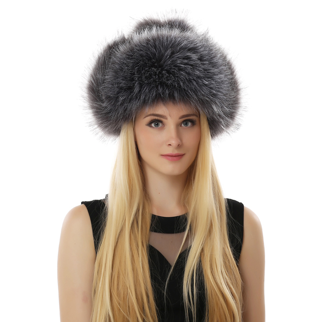 BFDADI New Long Fur Bomber Hats For Women Hat Print Flowers Design Thickening Ear Protection Winter Fashion Hats Big Size 60cm