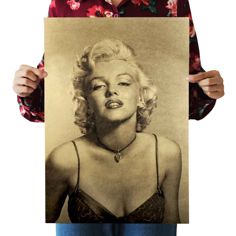 Hot Marilyn Monroe Kraft Paper Poster Art Design Fashion B Style Movie Stickers Muraux Pegatinas Adesivo De Parede