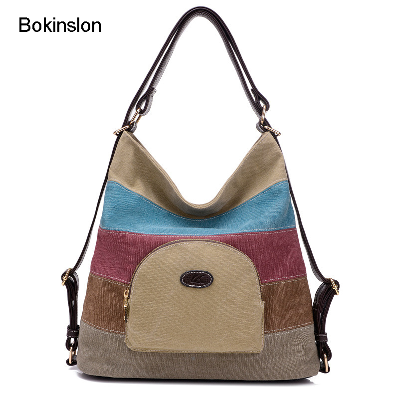 Bokinslon Handbags Women Bags Canvas Retro Girls Shoulder Bags Casual Mixed Colors Cross ...