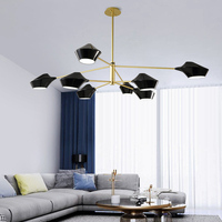 Nordic black chandelier iron lampshade modern led chandelier for living room Kitchen lighting lamp branch bedroom interior home