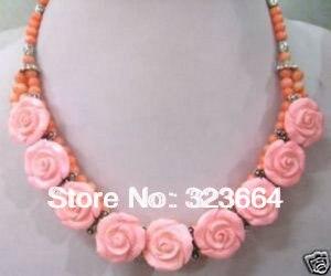Hot! naturel rose Corail sculpté Rose Fleur collier pendentif 17.5