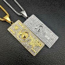 Хип хоп iced out большой доллар США золотые ожерелья и подвески