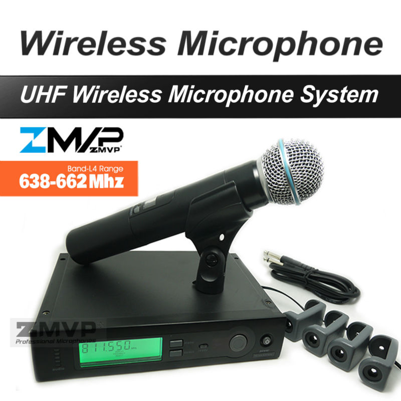 ZMVP UHF Professional SLX24 BETA58 Wireless Microphone SLX Cordless Karaoke System With Handheld Transmitter Band L4 638-662Mhz zmvp uhf professional slx24 beta58 wireless microphone cordless slx karaoke system with handheld transmitter band r5 800 820mhz