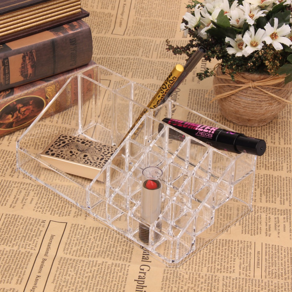 Clear Acrylic Cosmetic Case Transparent Makeup Tools Jewelry Lipstick Brushes Organizer Insert Holder Box 22.3 x 12.7 x 8cm large box acrylic makeup cosmetic case stand insert holder rack organizer glossy makeup organizer 3 layer drawers transparent