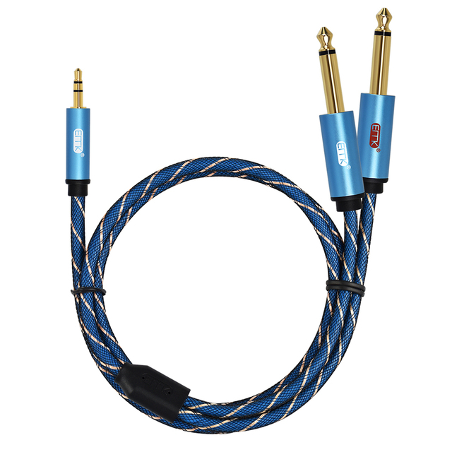EMK 3,5mm a 2 6,35mm Cable de Audio estéreo Aux 3,5 macho a macho 6,35 6,3 6,5 Mono Y Splitter Cable de Audio 5m para el teléfono al mezclador
