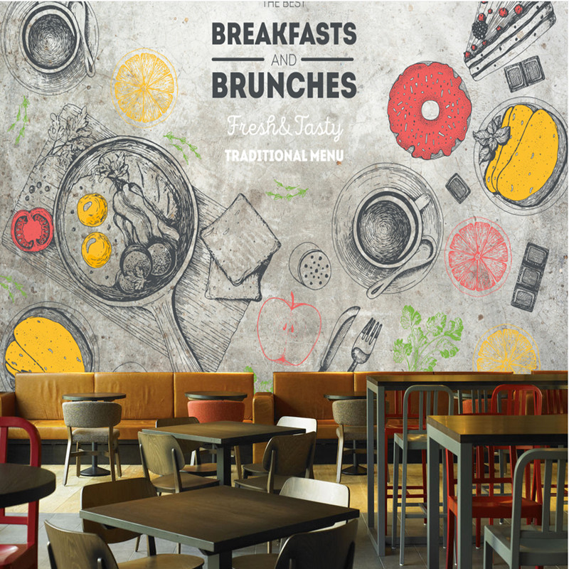 Custom 3D Stereoscopic Wallpaper Coffee Shop 3D Wall Murals for Living Room Japanese Cooking Wallpaper Vintage Home Decor Murals personality custom wallpaper 3d stereoscopic feather murals white non woven wallpapers wall papers for living room home decor